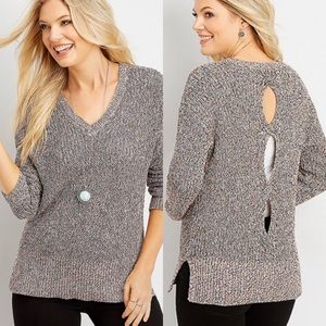 Maurices Cable Knit Sweater Open Back Teal